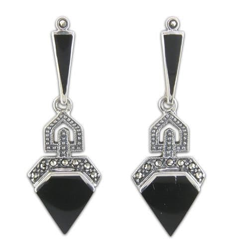 Black onyx triangle sterling silver drop earrings