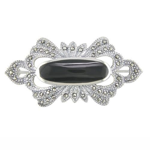 Black Oval Onyx And Marcasite Brooch Sterling Silver