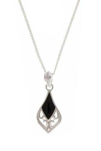 Black Sterling Silver Onyx Necklace