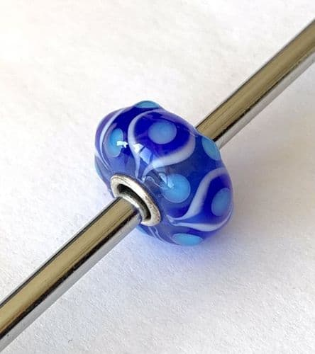 Blue And White Dotted Swirl Trollbeads Unique