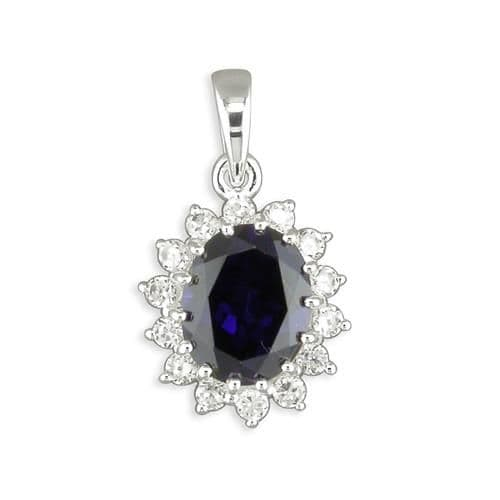 Blue oval cubic zirconia silver cluster necklace