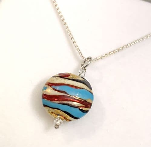 Blue Red Murano Glass Bead Necklace