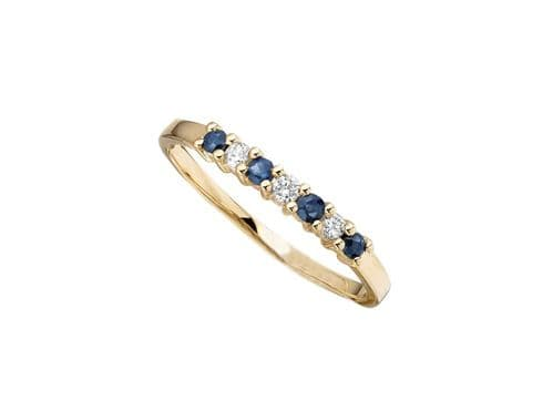 Blue Sapphire And Diamond Claw Set Eternity Ring