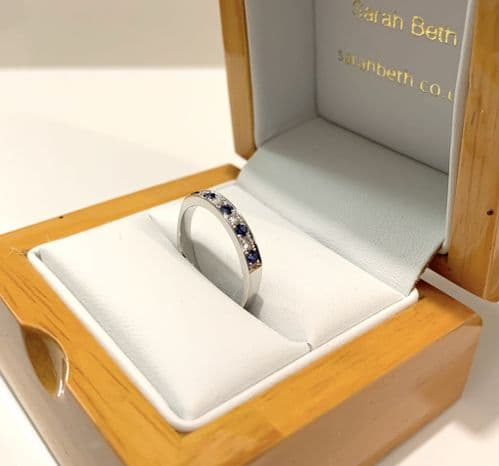 Blue Sapphire And Diamond White Gold Eternity Ring