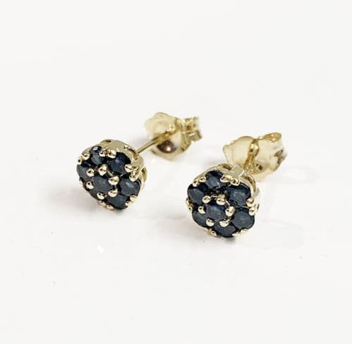 Blue Sapphire Yellow Gold Daisy Cluster Stud earrings
