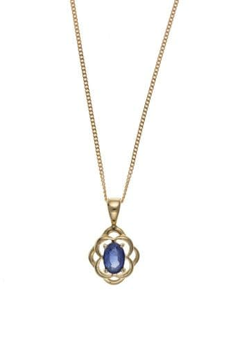 Blue Sapphire Yellow Gold Necklace
