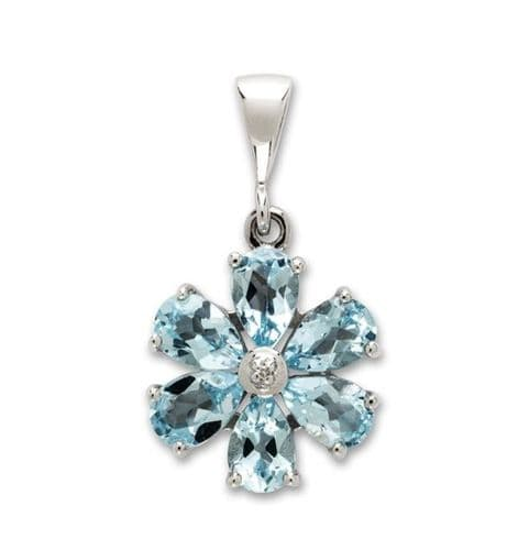Blue Topaz And Diamond Round Silver Daisy Flower Petal Cluster Necklace Pendant