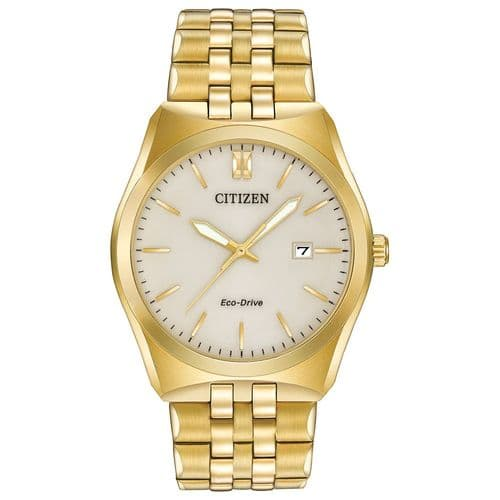 BM7332-53P Men's Citizen Watch Gold Plated Stainless Steel Eco-drive Champagne Dial