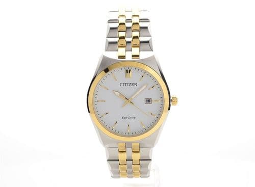 BM7334-58A White Dial Men's Citizen Watch Two Tone Stainless Steel Eco-drive