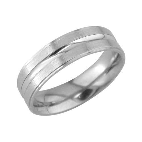 Brushed Diamond Cut Thick Line Patterned Wedding Ring