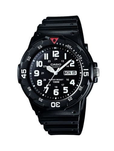 Casio Mens Black Resin Analogue Clear Dial Watch MRW-200H-1BVES