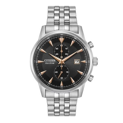 Citizen Men's Watch Chronograph Stainless Steel Grey Dial Bracelet Eco-Drive CA7000-55H