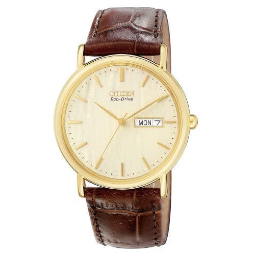 Citizen Watch Stainless Steel with Yellow Gold Ion Plating Eco-Drive Mens Straps BM8242-08P