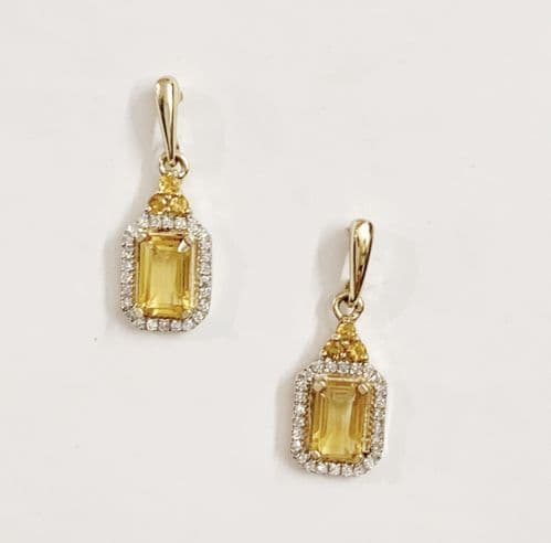 Citrine And Diamond Cluster Yellow Gold Octagonal Drop Earrings