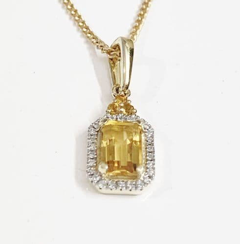 Citrine And Diamond Yellow Gold Octagonal Cluster Necklace