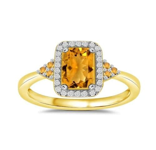 Citrine and Diamond Yellow Gold Octagonal Cluster Ring