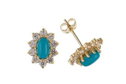 Cluster Blue Turquoise And Cubic Zirconia Yellow Gold Stud Earrings AP0132