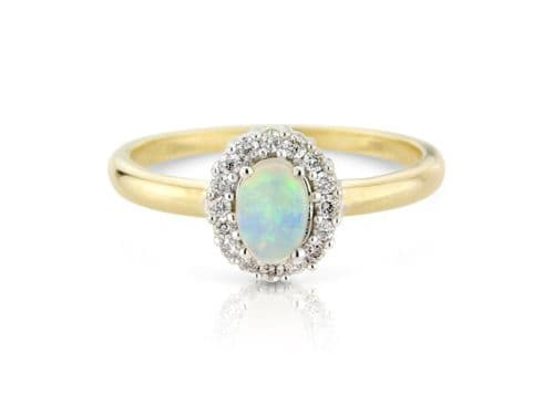 Cluster Ring Opal And Diamond Yellow Gold