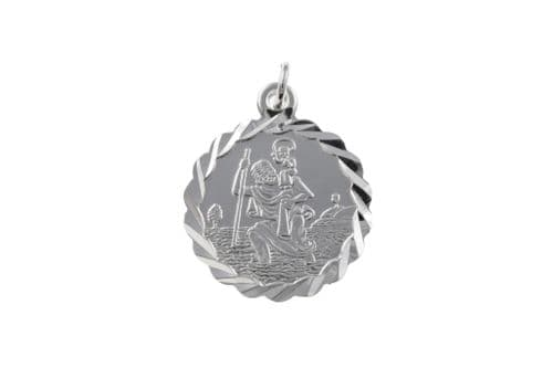 Decorated Sterling Silver St. Christopher Including Chain