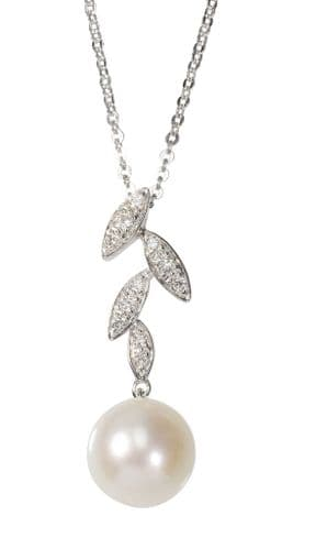 Diamond And Round Fancy Pearl Swirl Necklace