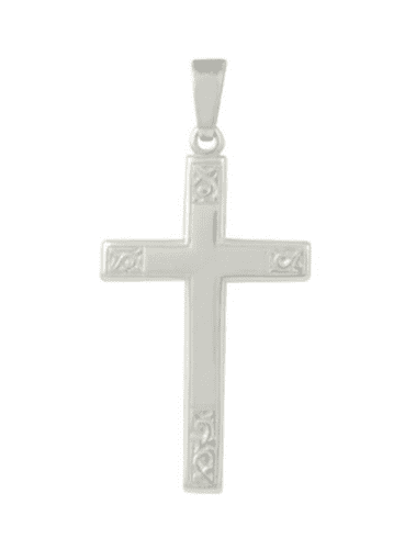 Diamond Cut Solid Sterling Silver Cross With Chain