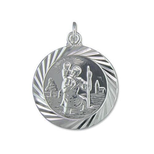 Diamond Cut Solid Sterling Silver St. Christopher Necklace