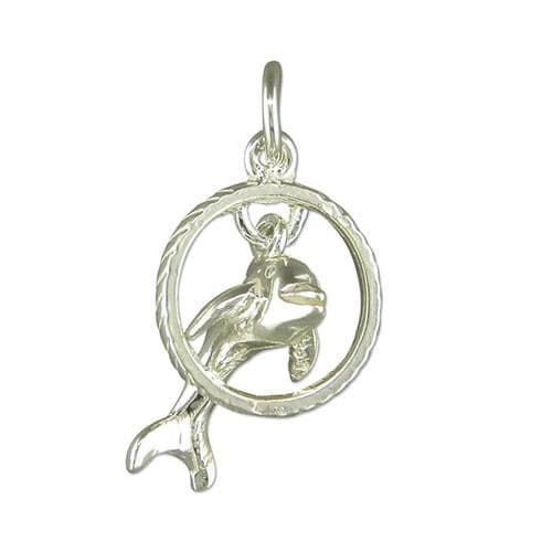 Dolphin Jumping Through Hoop Charm Sterling Silver