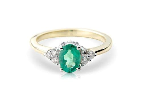 Emerald And Diamond Yellow Gold cocktail Dress Ring