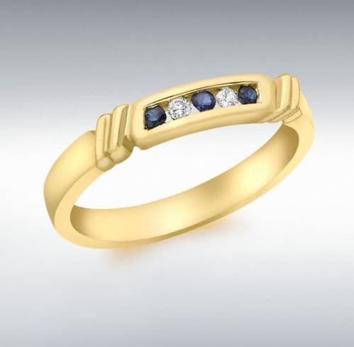 Eternity Ring Sapphire And Diamond Channel Set Yellow Gold