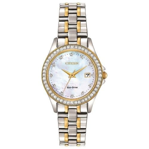 EW1844-50Y Crystal Set Round Mother Of Pearl Dial Citizen Watch Two Stainless Steel Eco-drive Ladies