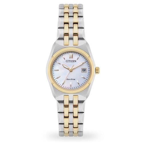 EW2296-58D Mother Of Pearl Ladies Citizen Watch Two Tone Stainless Steel Eco-drive
