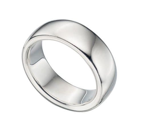 Extra Heavy Polished Plain Sterling Silver Men's Wedding Ring 8 mm Wide