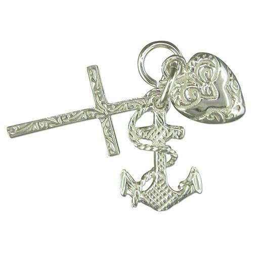 Faith, Hope And Charity Charm Sterling Silver