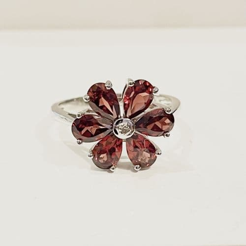 Garnet And Diamond Round Sterling Silver Red Brown Daisy Petal Cluster Ring