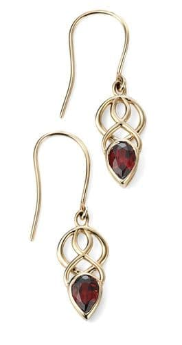 Garnet red brown pear cut yellow gold Celtic drop earrings with wire fittings