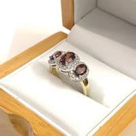 Garnet Ring  Oval Triple Trilogy Cluster With Diamonds 18 Carat Yellow Gold