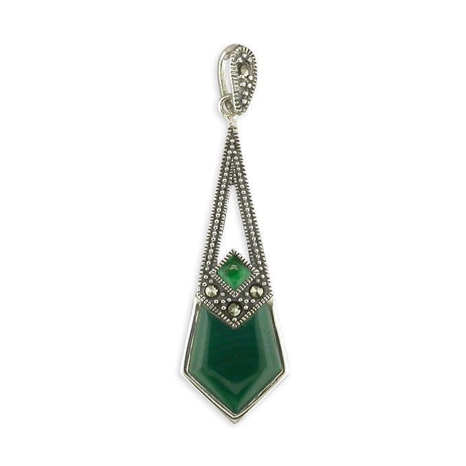 Green Agate And Marcasite Long Drop Kite Shaped Necklace Pendant Sterling Silver