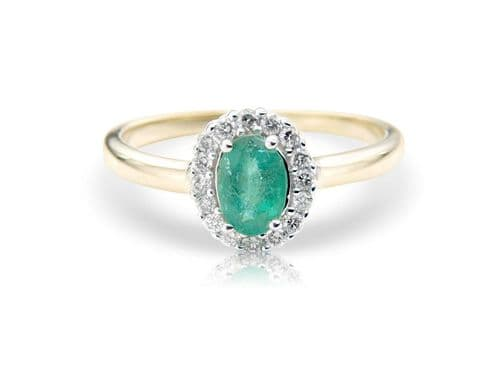 Green Oval Emerald And Diamond Yellow Gold Cluster Ring