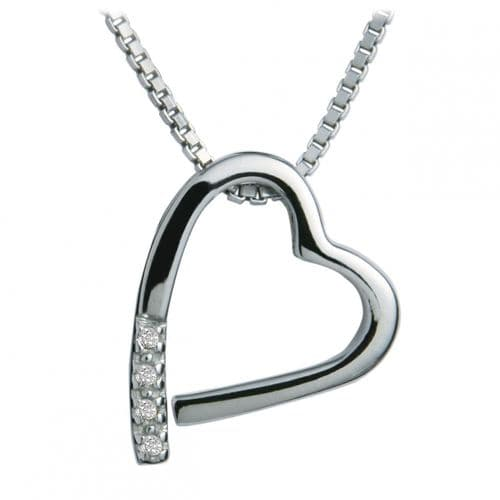 Heart Shaped Hot Diamonds Sterling Silver Memories Silver Necklace DP100
