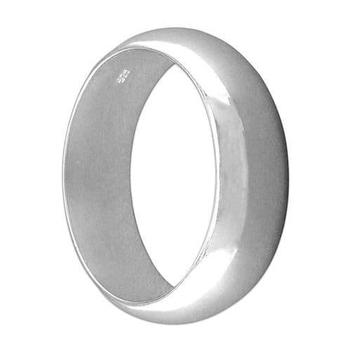 Heavy Polished Plain Sterling Silver Men's Wedding Ring 8 mm Wide Rounded