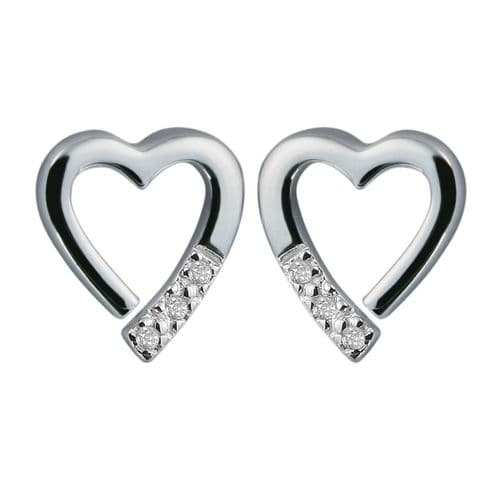 Hot Diamonds 925 Sterling Silver diamond set heart shaped peirced earrings DE110
