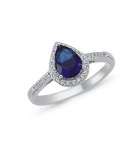 Ladies Blue Silver Cluster Ring Pear Shaped