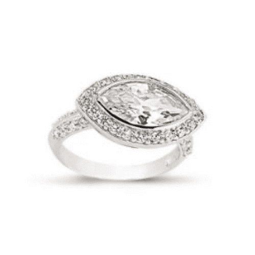 Ladies Silver Cluster Ring Marquise Shaped