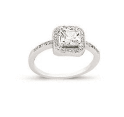 Ladies Silver   Cluster Ring   Square Shaped