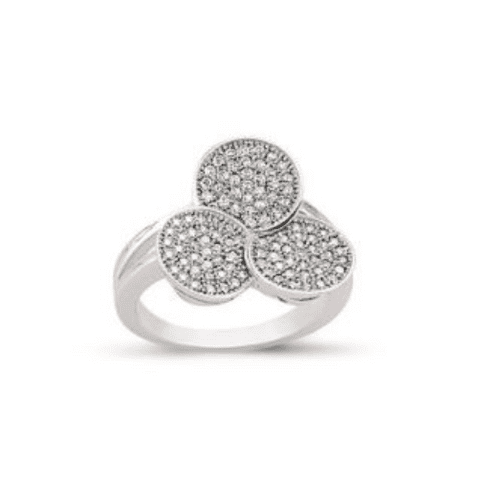 Ladies Silver Cluster Ring Triple Round Shaped