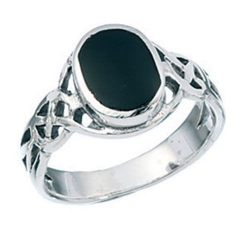 Ladies Sterling Silver Celtic Oval Black Onyx Ring
