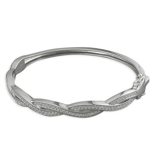 Ladies Sterling Silver Fancy White Cubic Zirconia Bangle