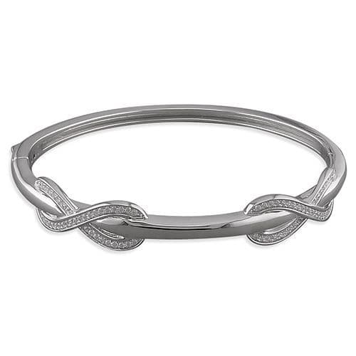 Ladies Sterling Silver Infinity Cubic Zirconia Bangle