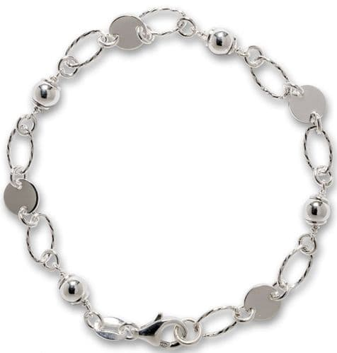 Ladies Sterling Silver Patterned Bracelet Oval And Circle