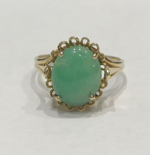 Large Green Oval Jade Yellow Gold Ring